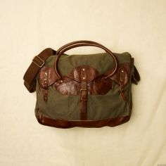 Army Green and leather satchel? Best of both worlds!
