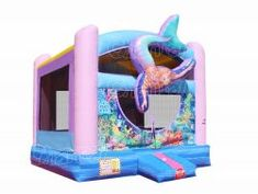Mermaid themed bounce house for sale, commercial grade mermaid princess inflatable moonwalk with basketball hoop for kids birthday parties. Disney Little Mermaids, The Little Mermaid, Inflatable Bounce House, Mermaid Swimming, Bouncy Castle, Mermaid Princess, Tarpaulin, Basketball Hoop, Panel Art