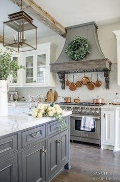 Kitchen Remodel Ideas Farmhouse Kitchen with Fall Decor-Center Island Design-Lantern Pendant Lights-White Kitchen-Glass Kitchen Cabinets-Copper Pots-Dark Center Island-Restoration Hardware Paint French Country Kitchens, Modern Farmhouse Kitchens, Home Kitchens, Small Kitchens, Farmhouse Decor, Farmhouse Lighting, Country Kitchen Ideas Farmhouse Style, Dream Kitchens, French Country Decorating