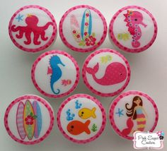8 KEY WEST MERMAID North Shore Knobs Under The Sea Hibiscus Seahores Summer Surf Drawer Pull Kids m2m Pottery Barn Bedding Decor ocean