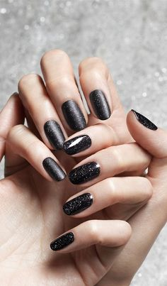 Black glitter manicure, matte and gloss