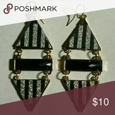 JEWELRY CLEARANCE Uniquely Beautiful Earrings Brand New Never Worn Black, Rhinestone and Gold Tone Costume Earrings Jewelry Earrings