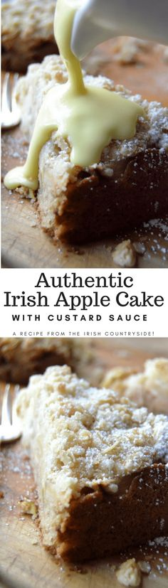 This Authentic Irish Apple Cake is delicious with or without the traditional custard sauce! #cake #easy #recipe #irishapplecake #applecake #irishrecipe #breakfastcake #dessert #fallbaking #apples #crumbcake #coffeecake #irishcake #stpatricksday Irish Recipes, Apple Recipes, Sweet Recipes, Baking Recipes, Cake Recipes, Dessert Recipes, Dessert Food, Yummy Recipes, Recipies