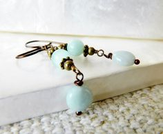 Amazonite Earrings Brass Jewelry Vintage Style by MsBsDesigns, $23.00