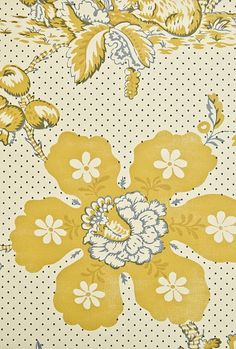 Toile de Lapins Wallpaper Traditional French floral  wallpaper in light cream,integrating rabbit design In mustard yellow.