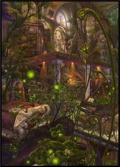 Enchanted Overgrown Library by Kazumasa Ucchiey