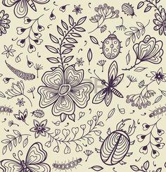 Textura transparente con flores, escarabajos, mariposas y libélulas. Foto de archivo