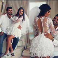 Short Bridal Dresses Short Lace Arabic Dubai Style Wedding Dress 2016 With Long Sleeves Bateau Sheer Keyhole Back Fall Winter Bridal Wedding Dress Custom Made Short Bridal Gowns From Whiteone, $136.87  Dhgate.Com