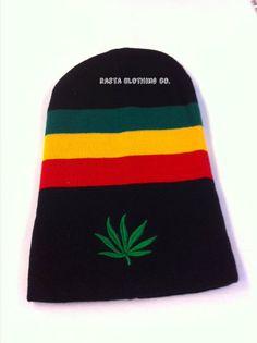 Weed Leaf Long Rasta - Black   Beanie - Rasta Clothing Company Green And  Gold e9a3f3835121