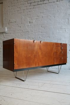 John and Sylvia Reid; Teak and Metal 'S Range; Sideboard for Stag, 1950s.