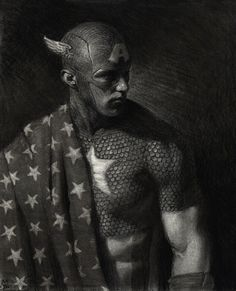 Daredevil & Captain America Charcoal Illustrations by Matt Buck