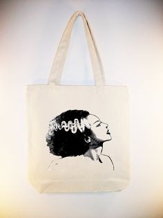 Bride of Frankenstein Profile 15x15 Canvas Tote Bag  by Whimsybags, $12.00