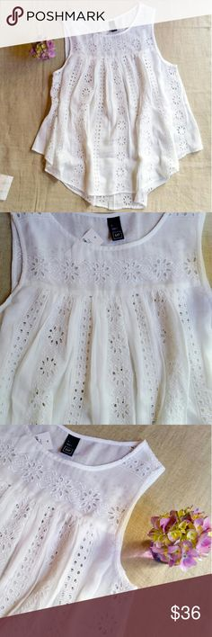 Adorable Eyelet Top Flouncy tank top with gorgeous eyelet design of flowers and squares. The fabric is an amazing blend of cotton and rayon. Sexy babydoll style, one in small and one in xs. Made in India. GAP Tops Tank Tops