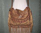 Gypsy Fringed Bohemian Bag Purse, Brown Paisley Velvet Hippie Purse