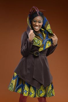 NEW Yellow brown and blue African print coat on  by GitasPortal