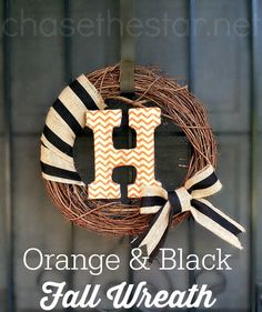 Orange and Black Fall Wreath via Chase the Star