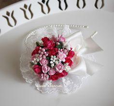 Fuşya Çiçekli Lohusa Tacı, Lohusa tacı, çiçekli lohusa tacı, bebek bandı, anne tacı, lohusa bandı, doğum