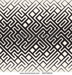 Vector Seamless Black and White Rounded Line Maze Irregular Pattern Halftone Gradient Abstract Background