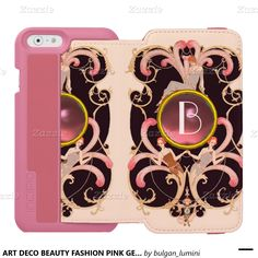 ART DECO BEAUTY FASHION PINK GEM MONOGRAM INCIPIO WATSON™ iPhone 6 WALLET CASE