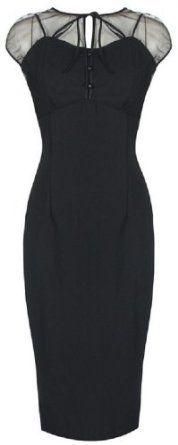 Lindy Bop 'Pandora' Glamourous Vintage 1950's Style Black Pencil Wiggle Dress,i love it