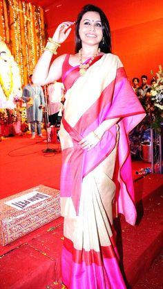 Rani Mukerji at a Durga Puja pandal. #Bollywood #Fashion #Style #Beauty