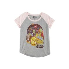 Hybrid Juniors Two Tone Star Wars Group T-Shirt (260 MXN) ❤ liked on Polyvore featuring tops and t-shirts