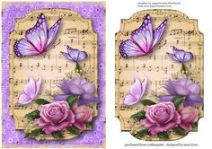 This lovely topper features the beautiful 'Belle epoque' roses, with butterflies, on a sheet music plaque, with a fabric backdrop. It has an extra plaque to add depth. The fabric gives it a vintage look. Scrapbooking, Scrapbook Paper, Paper Art, Paper Crafts, 3d Sheets, Fabric Backdrop, 3d Prints, Rose Prints, 3d Cards