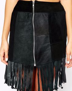 ASOS Fringe Mini Skirt Black Suede Leather Tassels Zip Front A Line Sz L NWT #Asos #ALine
