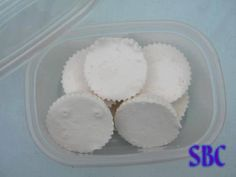 DIY Vicks Shower Pucks Ingredients: 1 Cup Baking soda 1/2 Cup Cornstarch 1/3 - 1/2 Cup Water 2 - 3 tsp Vicks vapor rub Heat water enough to melt vicks in. Add in baking soda and cornstarch and mix into a think paste, if you need to add more water. Line a muffin tin with paper cups, fill each cup about half way with mixture. Let dry overnight. Remove from paper cups when discs are hard and store in an airtight container. To use simply drop a puck in the bottom of your shower.
