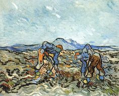 Two Peasants Digging Potatoes, Vincent van Gogh 1890