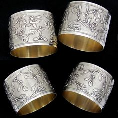 Pair Antique French Sterling Silver Napkin Rings, Raised Relief, Neoclassical Foliage & Ribbon