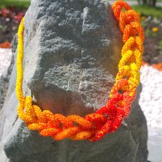 Beaded crochet necklace Sunny by Vifslabeads on Etsy
