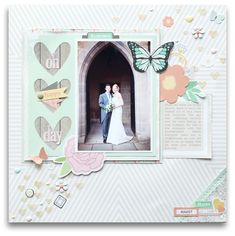 Oh Happy Day - Scrapbook.com - Use soft neutrals and a few pastels to showcase a wedding photo. The softness of the colors makes the photo look so vibrant!