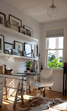 Office- Ikea Lack Shelves, CB2 chair, West Elm Pendant - Christine Alice Interiors