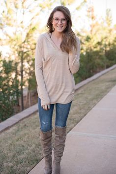 Piko v-neck long sleeve hooded top beige