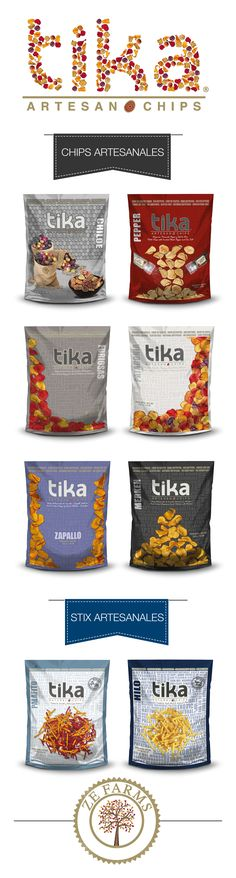TIKA ARTESAN CHIPS Crisps from Colored Exotic Potatoes, Sweet Potatoes and Beetroots.  Design by Eric Moore