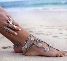 Silver Boho Coin Anklet
