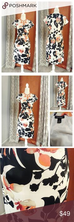 "White House Black Market dress sz 8 White House Black Market dress sz 8 Great condition Approx measurements Breast (pit to pit) 34"" Waist 30"" Hips 40"" Length 37"" Cap sleeves Orange beige black Tailored slit in the back of dress 5.5"" Zipper 20.5 hidden zipper White House Black Market Dresses"
