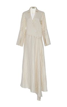 Messina Sand Asymmetric Shirt Dress by HELLESSY Now Available on Moda Operandi