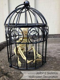 Make a Jailbird Skeleton Halloween Decoration - Dollar Store Crafts