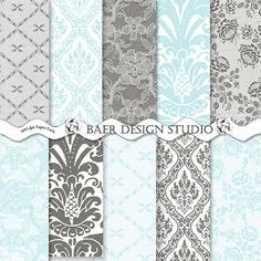 TIFFANY Blue and GRAY LACE Digital Paper Gray by BaerDesignStudio, $5.00