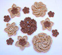 Crochet flowers set. Crochet appliques. Scrapbooking flowers. Crochet flowers Embellishment