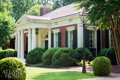 """The neoclassical façade of this Lewis """"Buck"""" Crook home sets the tone for interior details."""
