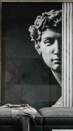 Pencil Sketch Images, Modern Wall Paint, Estilo Interior, Greek Warrior, Old Portraits, Art Deco Wallpaper, Human Art, Installation Art, Wall Design