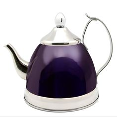 Holds 1 Quart capacity High quality stainless steel body with metallic purple color powder coating finish. Includes a removable stainless steel tea infuser basket Aluminum capsulated bottom to prov… Purple Kitchen Accessories, Perfect Cup Of Tea, Royal Tea, Tea Infuser, Tea Kettles, Pour Over Coffee, Cuppa Tea, Royal Design, Creative Home