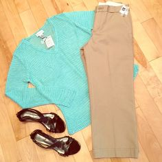 NWTGAP CROPPED New with tags these pants are the classic fit cropped khakis from the GAP. They are 100% cotton. The sparkle aqua crochet sweater (NWT) and new Dexflex black shoes are also for sale as separate listings in my closet :-) GAP Pants Ankle & Cropped