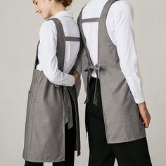 Serge Fabric Long Gray Apron - Little Tailor Studio Cafe Uniform, Waiter Uniform, Hotel Uniform, Restaurant Aprons, Restaurant Uniforms, Waitress Outfit, Modern Aprons, Cafe Apron, Apron Designs