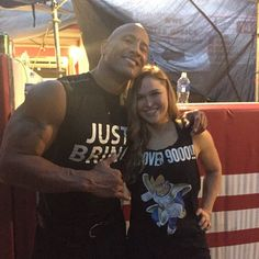Ronda Rousey & The Rock Look who's on her shirt...too funny