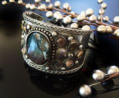 Tribal SILVER CUFF Bracelet ,Mens & Womens Cuff  Kuchi Kucchi Jewelry Brown Agate Stone jewelry by TANEESI by taneesijewelry on Etsy