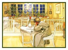 Scandinavian Carl Larsson The Evening Before Journey Counted Cross Stitch Chart